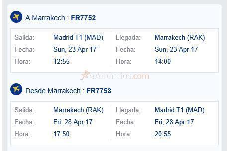 1 billete madrid-marrakesh - ida y vuelta (1533902 ...
