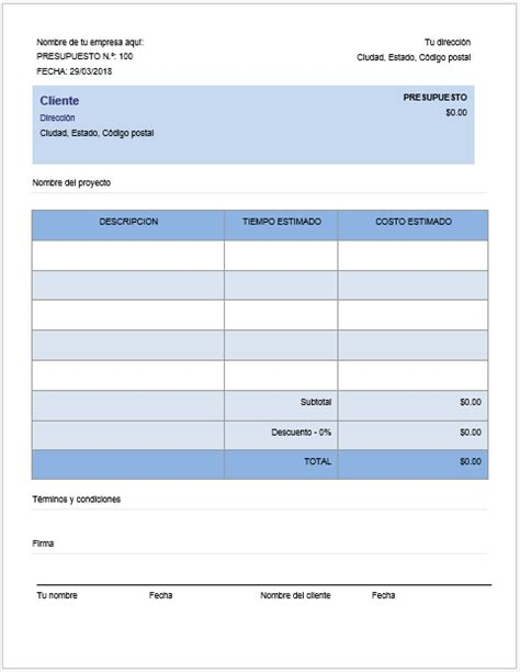 10 plantillas para elaborar presupuestos: descarga gratis ...