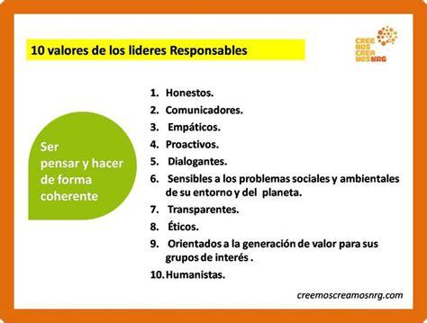 10 valores de los lideres Responsables | RESPONSABILIDAD ...