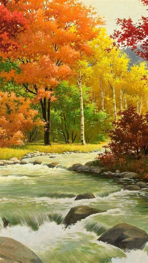 1080x1920 Wallpaper otoño, paisaje, pintura, río, madera ...