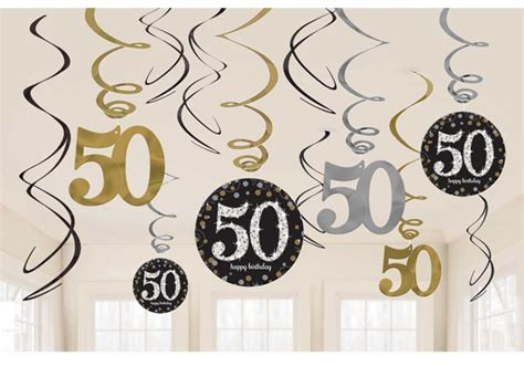 12 x 50th Birthday Hanging Swirls Black Silver Gold Party ...