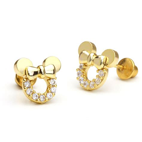 14k Gold Plated Mouse Children Screwback Baby Girls ...