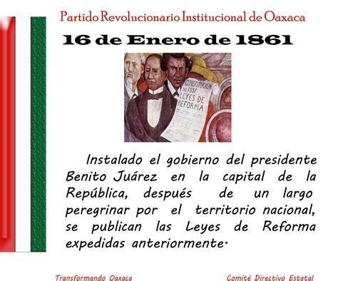 16 de Enero de 1861, Se publican las Leyes de Reforma