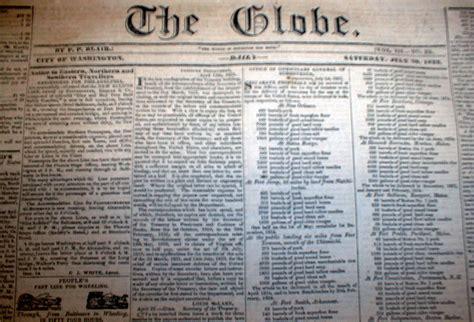 1833 Washington Globe DC newspaper w 2 front page ADs ...