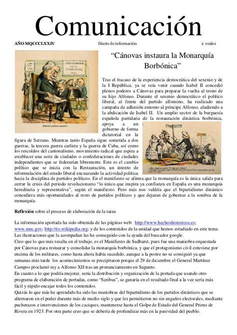 1874 la restauración de la monarquia borbónica