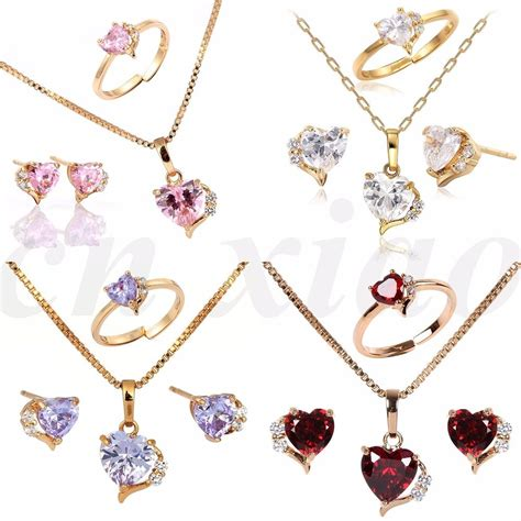 18K Gold Filled Heart Earrings Necklace Jewellery Sets for ...