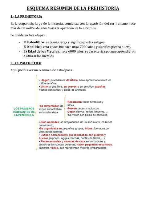 2.1 esquema resumen de la prehistoria  1