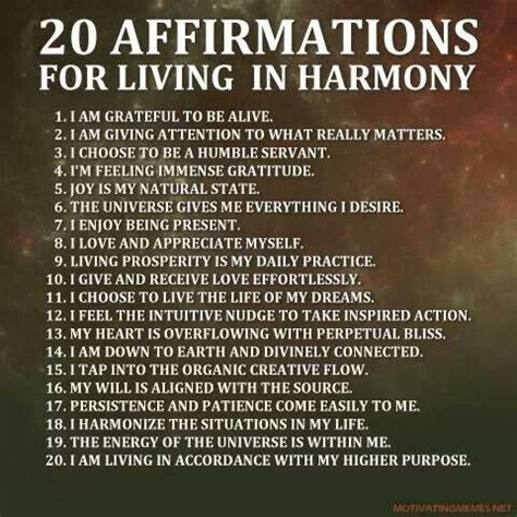 20 Daily Affirmations For Living in Harmony | Workout ...