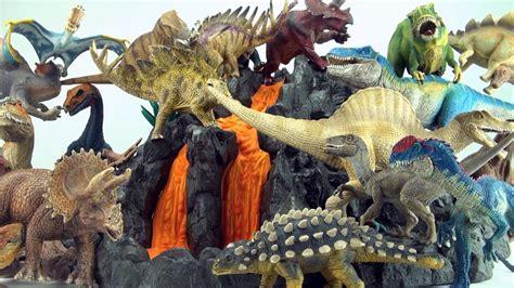 20 schleich dinosaur toys around Schleich giant volcano ...