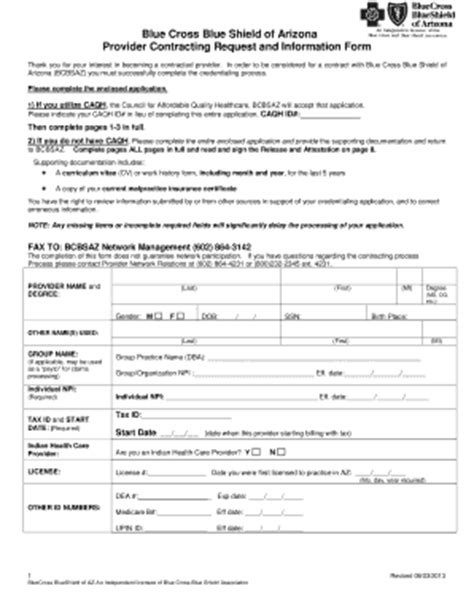2013 AZ Provider Contracting Request and Information Form ...