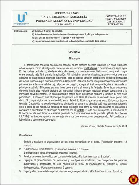 2015  Septiembre  ~ Examen de Comentario de texto y Lengua ...