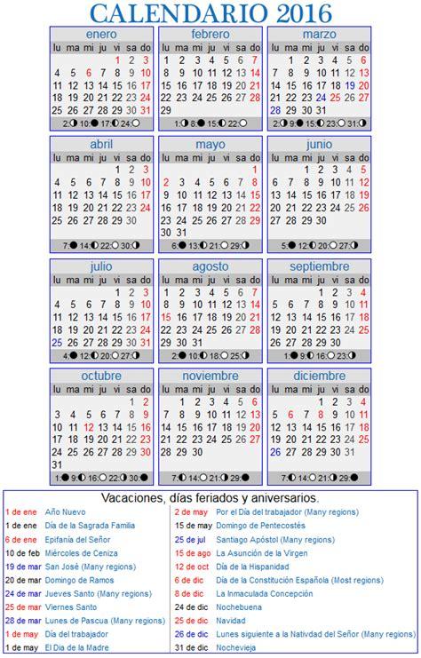 2016 Calendario laboral | Printable 2018 calendar Free ...