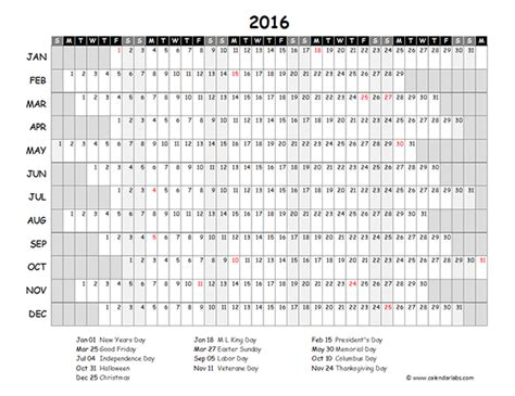 2016 Excel Yearly Calendar 03 - Free Printable Templates