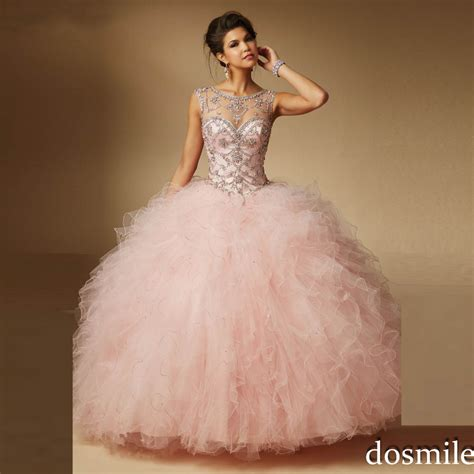 2016 sweet 16 dresses sheer neck Ball Gown light pink red ...