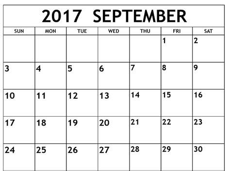 2017 September Month calendar   Calendar And Images