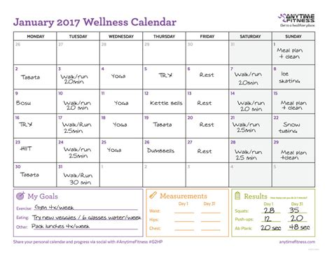 2017 Wellness Calendar for Active Planning & Progress