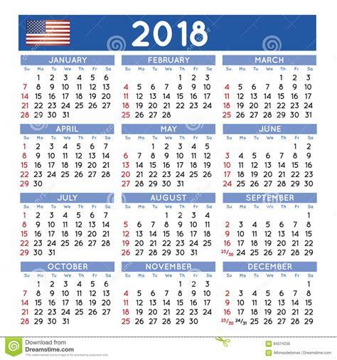 2018 Ajustó El Calendario Los E.E.U.U. Ingleses ...