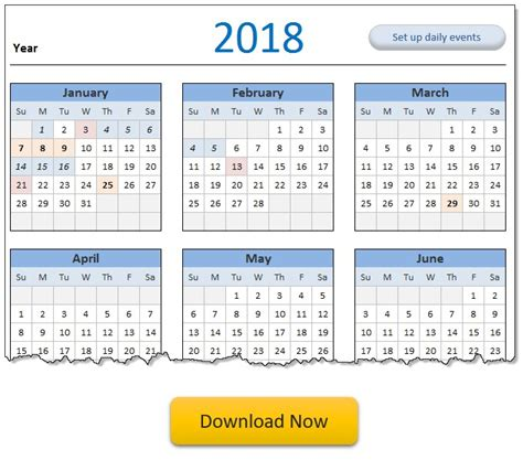 2018 Calendar, daily planner Excel templates [free ...
