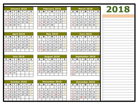 2018 Calendar Excel Template One page Monthly Yearly