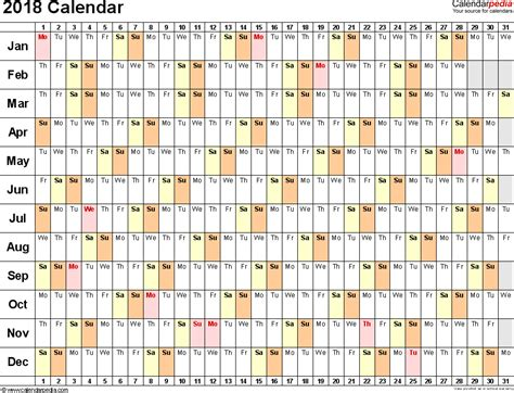 2018 Calendar Excel | weekly calendar template