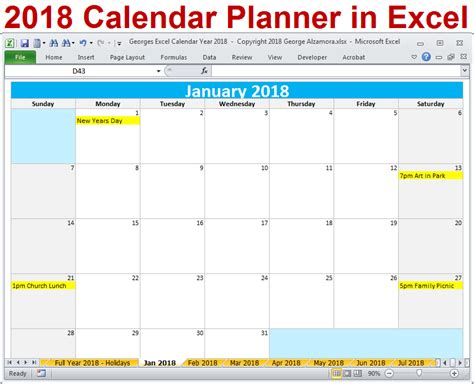 2018 Excel Calendar Year Template - Printable Monthly ...