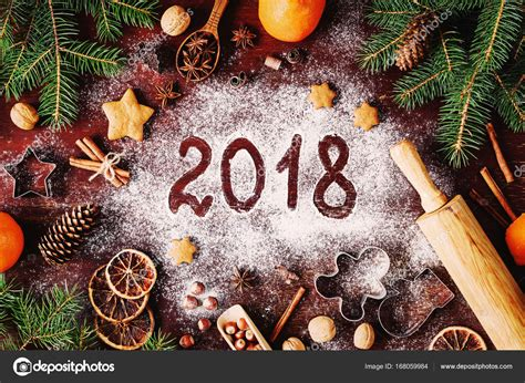2018 Happy New Year Merry Christmas Decorations Background ...