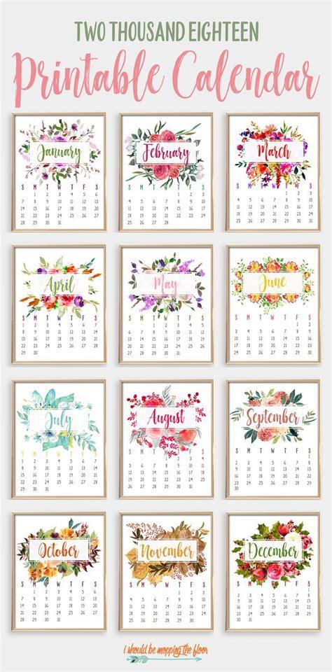 2018 Printable Calendar | Calendário 2018, Calendario para ...