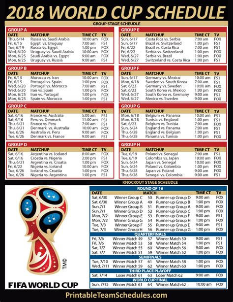 2018 World Cup Soccer TV Schedule - Central Time