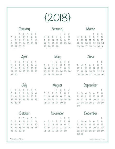 2018 Year-at-a-Glance Calendar {Free Printable} | Planner ...