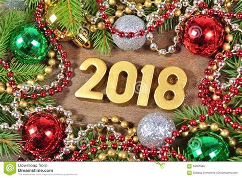 2018 Year Golden Figures And Christmas Decorations Stock ...