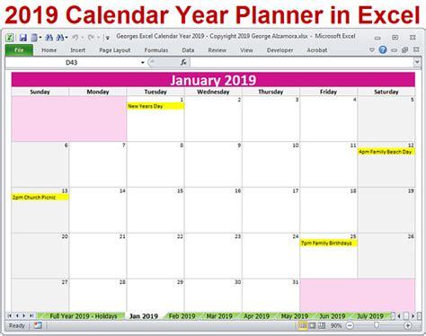 2019 année Agenda Excel modèle 2019 planificateur mensuel