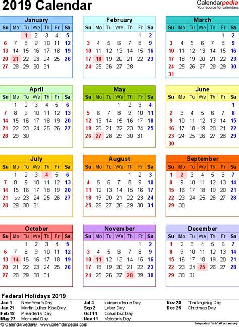2019 Calendar Pdf | calendar for 2019