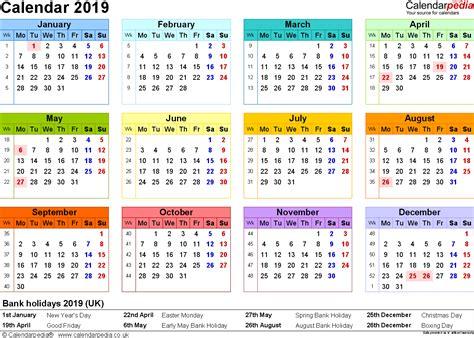 2019 Calendar UK | 2018 calendar printable