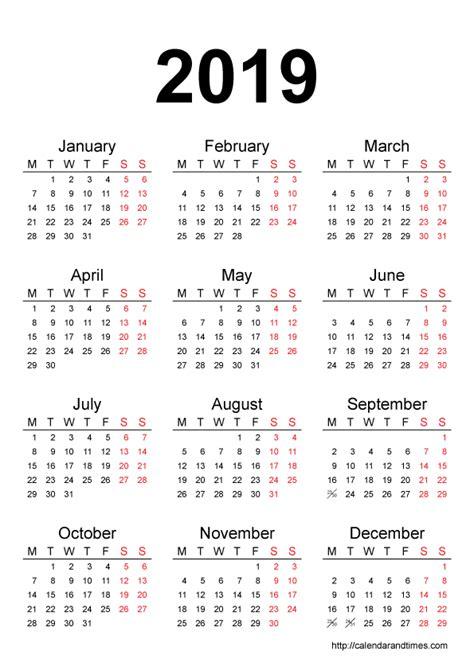 2019 calendar with holidays | monthly printable calendar