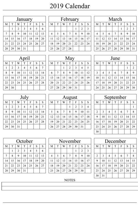 2019 Printable Calendar Templates [Free]** | Printable ...