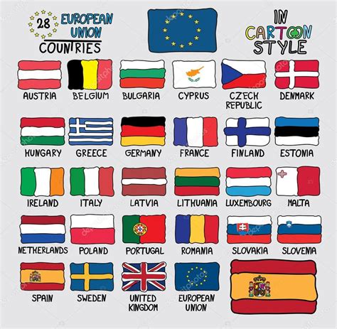 28 Flags of European Union Countries in Cartoon Style ...