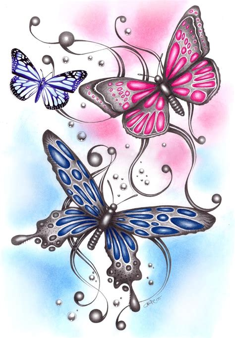 3 drawn butterflies by ashdesigns on DeviantArt