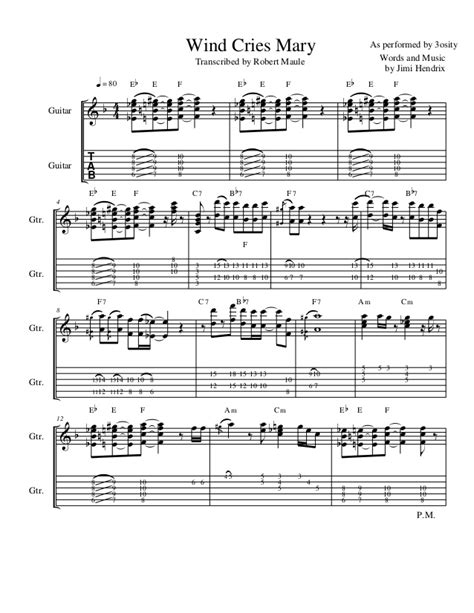 3 Wind Cries Mary (Standard Notation + Guitar Tab)