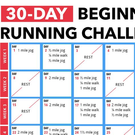 30 Day Beginner's Running Challenge Calendar