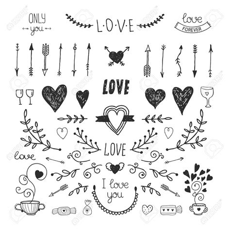 37256754-Love-decorative-vintage-elements-hand-drawn ...