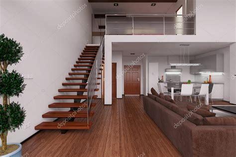 3D Render interior de un moderno loft pequeño — Fotos de ...