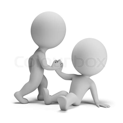 3d small person helps another to stand. 3d image. White ...