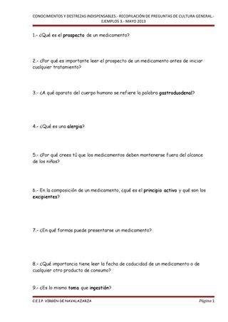 4º Cuadernillo de preguntas de cultura general CDI by ...