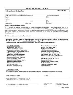 401K ENROLLMENT FORM - Calhoun County Michigan Fill Online ...
