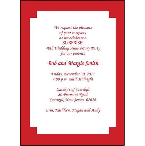 40th Anniversary invites : 40th anniversary invite wording ...