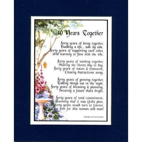 40th Wedding/Anniversary Poems | Wedding Anniversary Poems ...