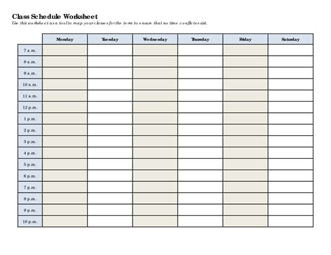 5 Best Images of College Class Schedule Printable - Class ...