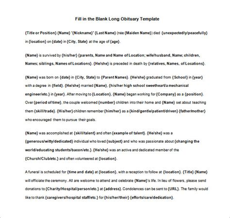 5+ Blank Obituary Templates - DOC, PDF | Free & Premium ...