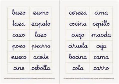 50 Palabras con Z intermedia y con Z al inicial y al final ...