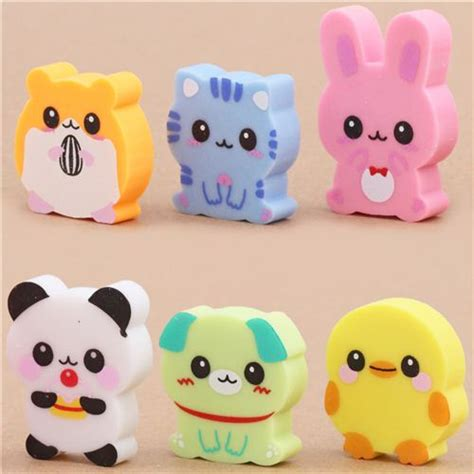 6 cute baby animals erasers from Japan kawaii - Animal ...
